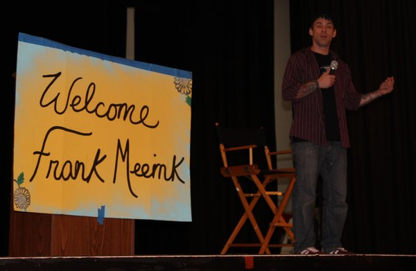Meeink, speaking to students at a Kearny High School asse...