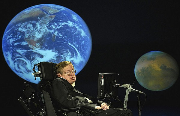 Stephen Hawking speaks about space exploration during a lecture in April 2008...