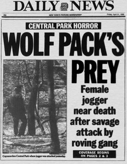 April 21, 1989 front page of the New York Daily News.