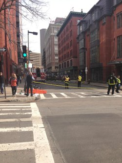 A Boston street after the explosions near the Boston Marathon.