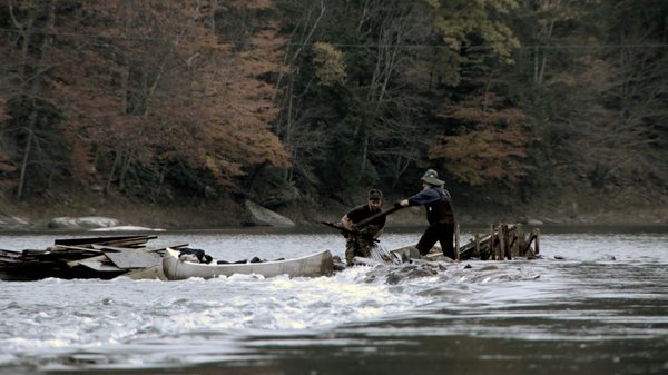 James Prosek at the river with eel fisherman, Ray Turner - Delaware River, Ha...