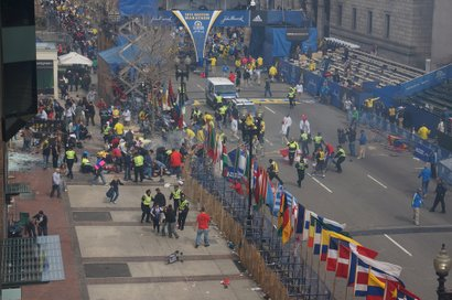 Aftermath of blasts at Boston Marathon finish line.