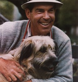 Actor Fred MacMurray and dog.
