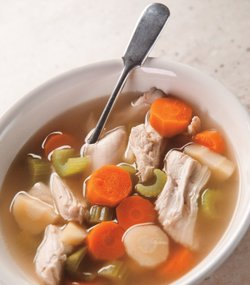 Martha Stewart makes a nourishing chicken soup that's as easy as poaching a chicken.