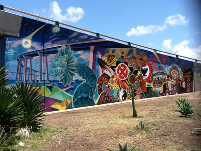 "Restored version of first mural painted at Chicano Park. ""The Return of Quetzalcoalt"", 1973"