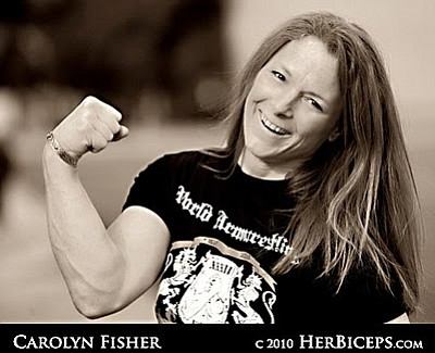 Carolyn Fisher has won five world arm wrestling champions...