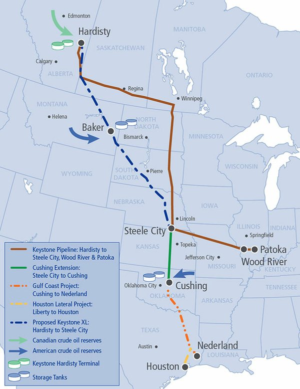 Overall route map of the Keystone XL Pipeline.