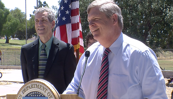Secretary of Agriculture Tom Vilsack stopped in San Diego during a national t...