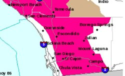 A Red Flag warning is issued for the valleys and mountains of San Diego Count...