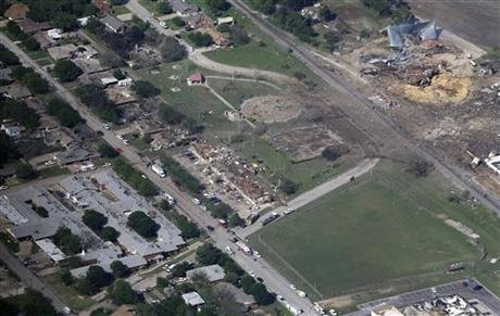 This Thursday, April 18, 2013 aerial photo shows the rema...