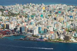 Aerial view showing the density of Male', the capital of the Maldives.