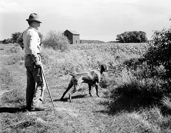 Aldo Leopold with his dog, Flick, at the Riley Game Cooperative in Southern W...
