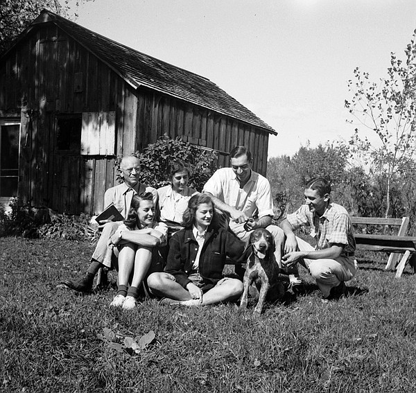 The Leopold family at the Leopold Shack in Wisconsin, 1939.
