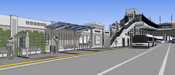 Pictured is a rendering of the Centerline project where passengers will be able to use an elevator down to special boarding areas at the freeway level.