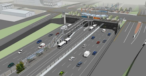 Pictured is a rendering of the Centerline project where buses and passengers would be separated from freeway traffic at bus stops.