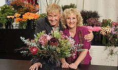 Noted floral artist, educator and speaker René van Rems with host Nan Sterman...