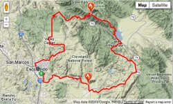 Map of the first leg of the Amgen Tour of California, May 12th, 2013