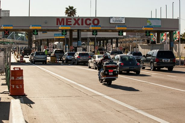 Cars line up at the San Ysidro border crossing in this undated photo.