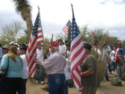 Immigrant rights activists and anti-illegal immigration activists square off at a May Day rally in Phoenix in 2007.