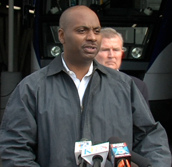 North County Transit District CEO Matthew Tucker speaks at a news conference ...