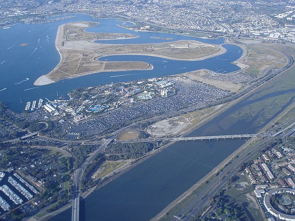 An aerial view of the San Diego River.