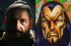 Iron Man comic rendering of Mandarin and the modern version, played by Ben Kingsley.