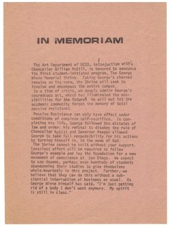 The handbill circulated by the UCSD art department calling for a George Winne...