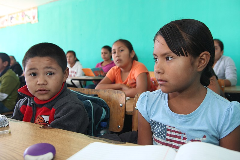 Neida Sandoval Diaz and Adrian Valdez Orosco, elementary school students in B...