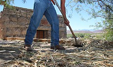 Ivan Sanchez gathers straw that will be placed on the roof of the casita on l...