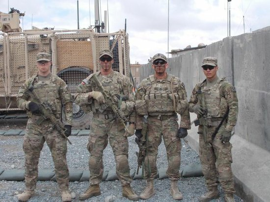 Spc. Thomas Murach, Spc. Brandon Prescott, Staff Sgt. Francis Phillips, and Spc. Kevin Cardoza