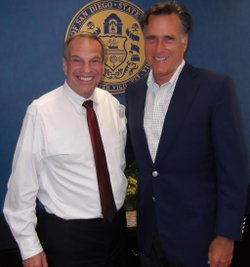 Mayor Bob Filner and former presidential candidate Mitt Romney.