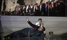 "Marcelo Álvarez as Gustavo III with Kathleen Kim as Oscar in Verdi's ""Un Ballo in Maschera."""