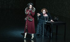 "Sondra Radvanovsky as Amelia and Stephanie Blythe as Madame Ulrica Arvidsson in Verdi's ""Un Ballo in Maschera."""