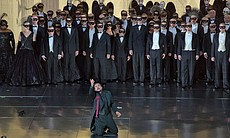 "A scene from Verdi's ""Un Ballo in Maschera"" with Marcelo Álvarez as Gustavo III."