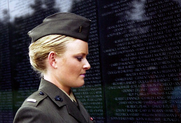 Lieutenant Elle Helmer at the Vietnam War Memorial, U.S. ...