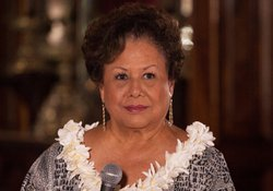 "Marlene Sai, singer. In ""Na Lani Eha From 'Iolani Palace,"" revered musicians perform songs composed by the last members of Hawaii's monarchy."