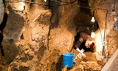 Dig in Ossuary gallery, the location where the Neanderthal bones were found, Spain.