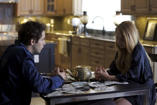 "Michael Angarano and Juno Temple contemplate what has happened since the got ""The Brass Teapot."""