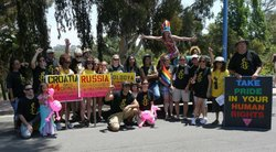 Amnesty International San Diego at the end of Pride Parade 2012.