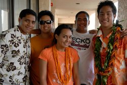 "Isaiah, Zach, Ka'ai, Brolin and Max, students featured in the film ""One Voice."" Every year in Hawai'i, 2,000 high school students compete in the Kamehameha Schools Song Contest, in which young leaders direct their peers in singing Hawaiian music in four-part harmony."