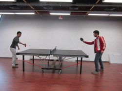 Students play ping pong in between study sessions at the Tec de Monterrey University.