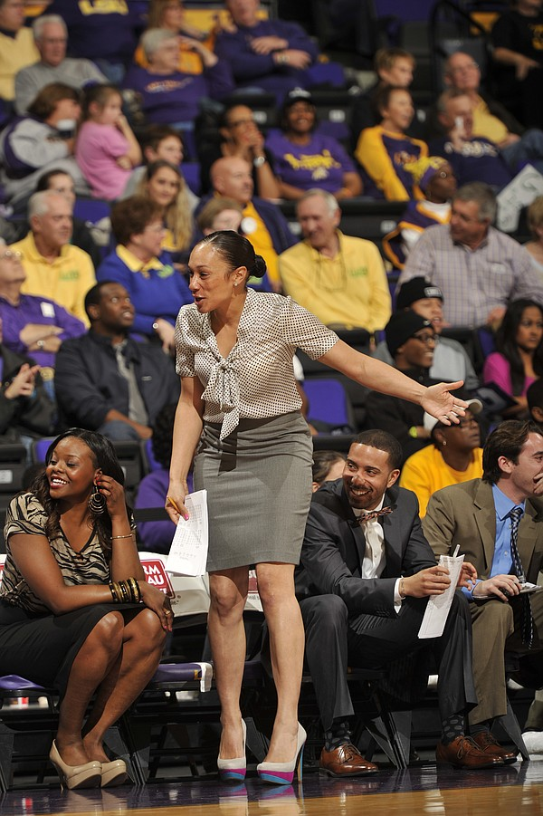 Stacie Terry on the court at LSU, where she served as assistant coach before ...