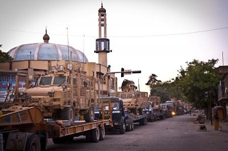 A convoy of Afghan and U.S. military vehicles near Kabul in 2012.