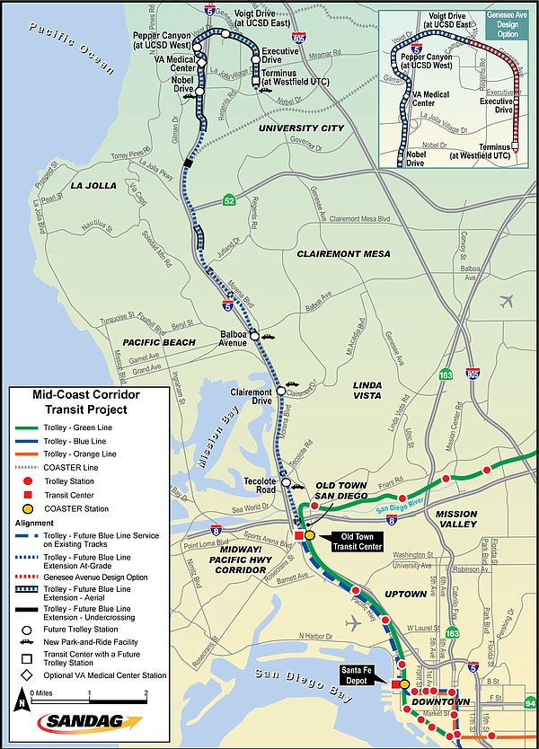 The Mid-Coast Corridor Transit Project will extend Trolle...