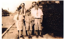 Family photo: Back Row Left To Right: Mel's brothers Leonard and Irving; Front Row Left To Right: Cousin Merrill, Mel Brooks and brother Bernard.