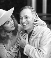 "Mel Brooks and Madeline Kahn taken on the set of ""Young Frankenstein"" circa 1974."