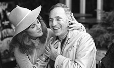"Mel Brooks and Madeline Kahn taken on the set of ""Young Frankenstein"" circa 1..."