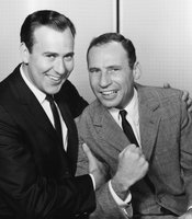"Carl Reiner and Mel Brooks in their in their iconic ""2000 Year Old Man"" routine."