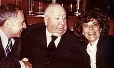 Mel Brooks, Alfred Hitchcock and Anne Bancroft.