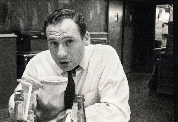 "Mel Brooks drinking coffee. The photo was taken by Carl Reiner while the two were writers for ""Your Show of Shows"" c. 1950-54."